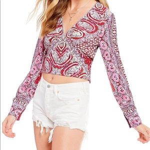 Free People wild and free long sleeve smocked top